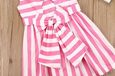 Girls Vertical Stripe Sleeveless Dress Bowkont on The Back with Pleated A-Line Backless Tutu Skirt