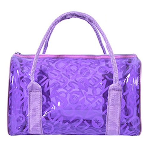 Donalworld Women Summer Clear Beach Candy Waterproof Violet Handbag Pillow Bag Purple Plastic Purse