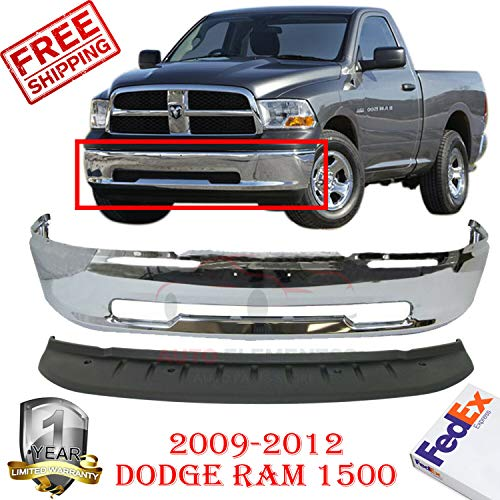 New Front Bumper Face Bar Chrome Steel For 2009-2012 Dodge Ram 1500 Outdoorsman Express Standard/Extended/Crew Cab Pickup Direct Replacement Lower Valance Air Dam Primed Plastic