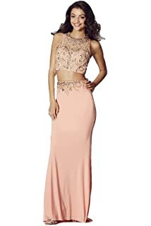 Tiffanys Illusion Prom Peach Lorena Beaded Two Piece Gown