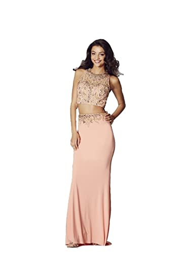 Tiffanys Illusion Prom Peach Lorena Beaded Two Piece Gown UK 2 (US 00)
