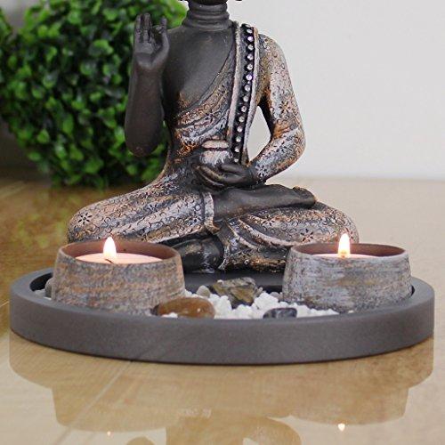 Amazon De Buddha Sitzend Mit Teelicht Deko Statue Fur Wohnzimmer