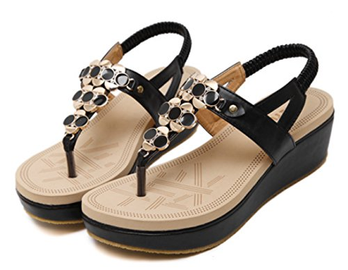 Bead Platform Sandals Breathable Slippers Women's Black Open Girl's B Fashion Summer DADAWEN Toe CxZwzgqx0