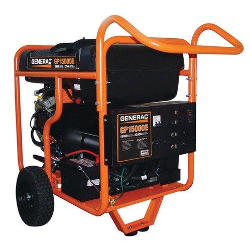 Generac 5734 GP15000E 15000 Running Watts/22500 Starting Watts Electric Start Gas Powered Portable (Generac Electric Generators)