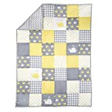 Yellow and Grey Baby Blanket for Newborn Kids - Whale Print Toddler Stroller Quilt Cotton Soft Crib Comforter