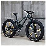 NENGGE-Mountain-Bike-26-Pollici-Fat-Bike-da-Montagna-Telaio-in-Acciaio-ad-Alto-Tenore-di-Carbonio-Biciclette-Bicicletta-Biammortizzata24-SpeedGreen-5-Spoke