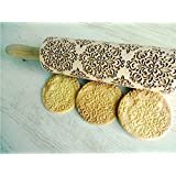Rolling pin KALEIDOSCOPE. Wooden embossing rolling pin with Kaleidoscope pattern. Embossed cookies. Pottery. Birthday gift. Gift for mother