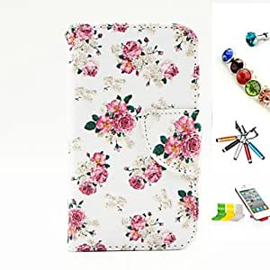 QHY Flower Pattern PU Material Multi-Function Mobile Phone Shell And Stylus Pen Dust Plug Bracket Assembly for iPhone 4/4S
