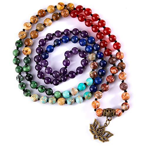 Bivei 7 Chakra 108 Mala Beads Bracelet Real Healing Gemstone Yoga Meditation Hand Knotted Mala Prayer Bead Necklace