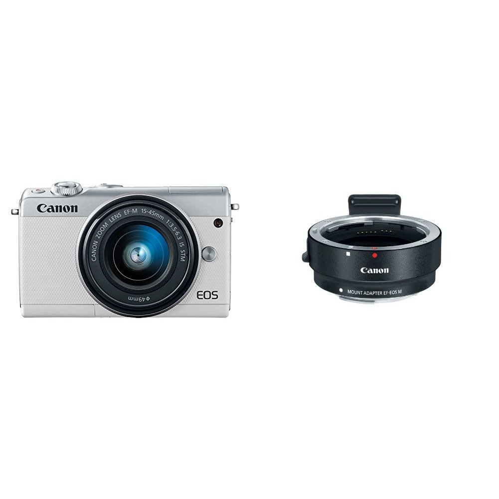 Canon Eos M100 Mirrorless Camera W 15 45mm Lens Wi Fi Kit 22mm Kamera White Bluetooth And Nfc Enabled M Mount Adapter Photo