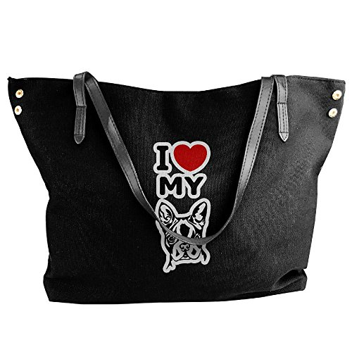 Women's Canvas Large Tote Shoulder Handbag I Love My Boston Terrier Hobo Handbag Bag Tote by Cotyou-6