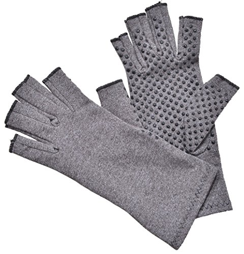 Woogwin Arthritis Compression Gloves - Open Gloves for Relief of Rheumatoid & Osteoarthritis Joint Pain, Fingerlss Hand Non-Slip Gloves for Typing Computer and Daily Work for Men & Women (Gray, L) by woogwin (Image #5)