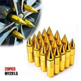 ACUMSTE 20Pcs Spike Lug Nuts, Aluminum M12X1.5 60mm Extended Tuner Wheels Rims Lug Nuts(Gold)