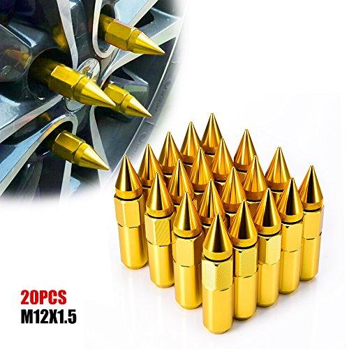 ACUMSTE 20Pcs Spike Lug Nuts, Aluminum M12X1.5 60mm Extended Tuner Wheels Rims Lug Nuts(Gold) ()