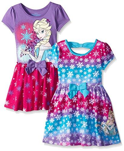 Disney Little Girls' Toddler 2 Pack Elsa Frozen Dresses, Purple, 2T -