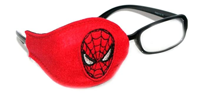Kids and Adults Orthoptic Eye Patch For Amblyopia Lazy Eye Occlusion Therapy Treatment Design #17 Spid Man on Red
