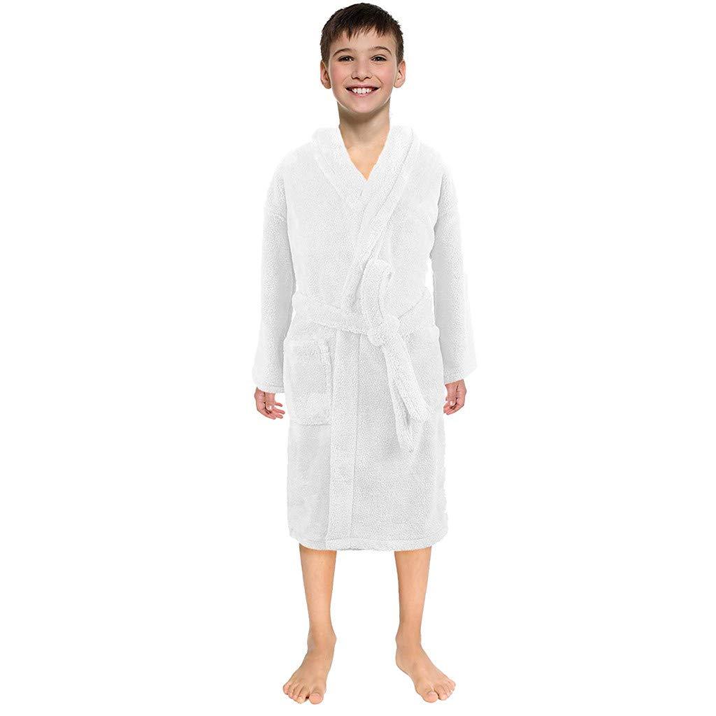 YCQUE Childrens Boys Girls Cute Solid Long-Sleeved Flannel Color Bathrobe Clothing Homeservice Robe Bathrobe