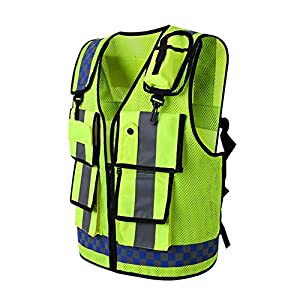 High Visible Reflective Safety Vest With Multi-pockets and Two Hooks in the Front, Zipper Front Pockets Breathable and…