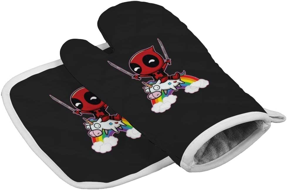Xoees Deadpool Unicorn Rainbow Oven Mitt and Pot Holder Set Heat-Resistant Non-Slip 2 Pieces for Baking Training School BBQ Kitchen Decoration