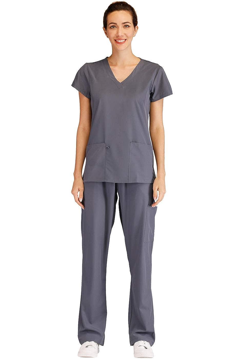 Grey Minty Mint Women's V Neck Solid Stretch Medical Scrub Set