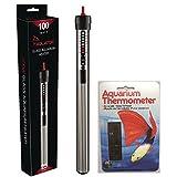 Aquatop Aquarium Submersible Glass Heater, 100-Watt with Liquid Crystal Vertical Aquarium Thermometer