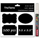 """ThxToms 100Pcs Fancy Chalkboard Labels with 1 Erasable White Chalk Marker, Waterproof and Reusable Stickers for Jars, Folders Classification, 3.2"""" x 2.2"""""""