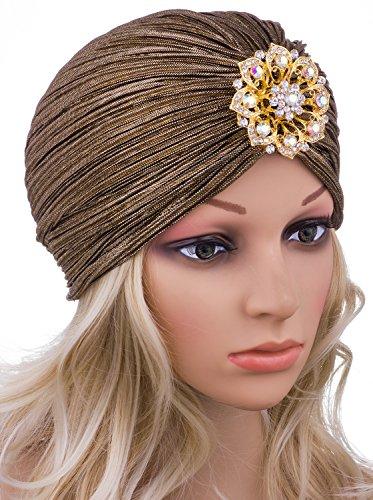 Vijiv Women's Vintage Lurex Knit Turban Beanie Hats Headwraps for 1920s Cocktail Party Gold -