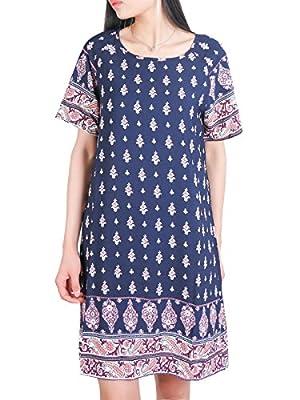 DSUK Womens Bohemian Tunic Dress Crew Neck Short Sleeve Floral Printed Loose Tops