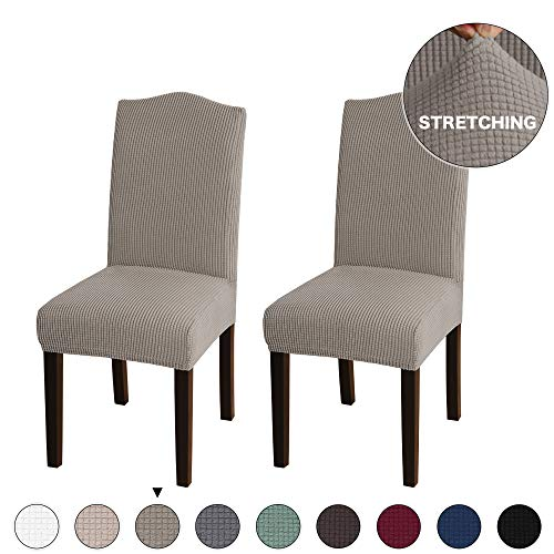 Turquoize Stretch Dining Chair Slipcovers Jacquard Removable Washable Kitchen Parson Chair Protector Cover Seat Slipcover for Hotel,Dining Room,Ceremony,Banquet Wedding Party Set of 2, Taupe