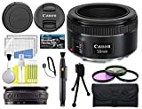 Canon EF 50mm f/1.8 STM Lens with USA Warranty + Filter Kit + Tripod + Lens Cleaning Pen + Accessory Bundle