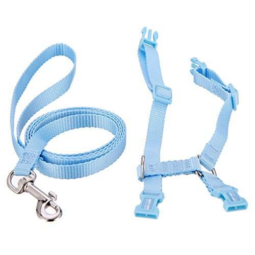 [Polkar Adjustable Pet Rabbit Walking Harness Leash Lead with Small Bell (Large, blue)] (Rabbit Leads)