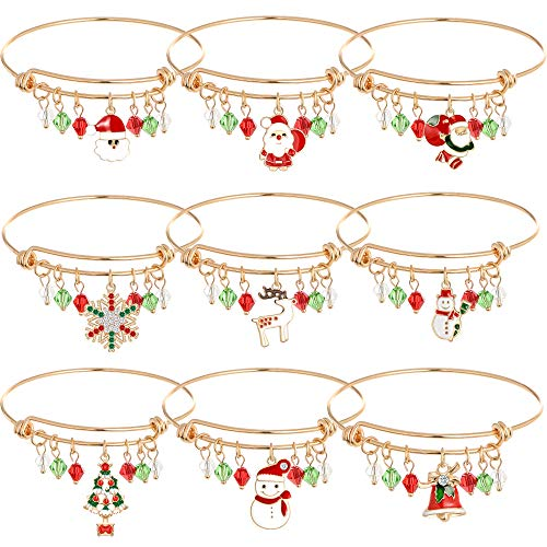 (Christmas Gold Expandable Charm Stainless Steel Bracelet Gift for Womens Girls Thanksgiving Holiday Xmas Jewelry Set Christmas Snowman Snowflake Deer Claus Christmas Tree Christmas Bell Bracelet(9pcs))