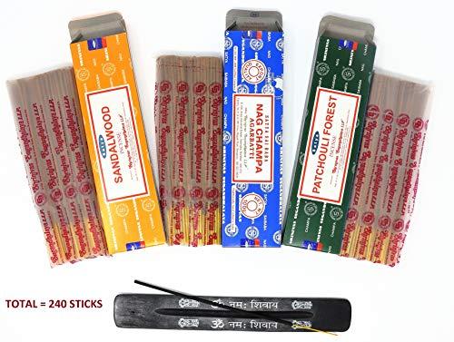 Nag Champa Incense Sticks Gift Set - Includes Nag Champa, Sandalwood & Patchouli Forest 100 gm Boxes (Total - 240 Sticks). Comes with Insense Burner Holder