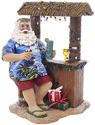 Kurt S. Adler 11 Beach Santa at Tiki Bar Figure