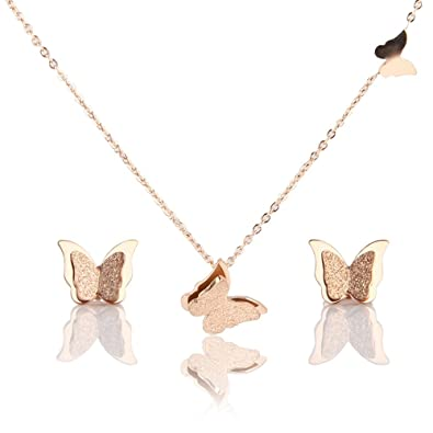 Amazoncom Jardme Rose Gold Jewelry Collection Butterfly