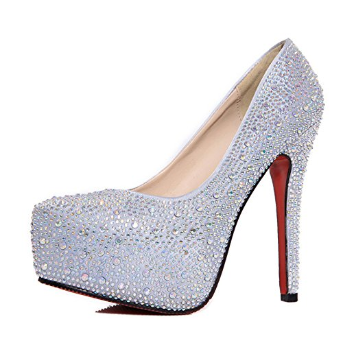 Mujeres PU Sexy Moda Diamante Boda Tacones De Dama De Honor Tacones De Novia Zapatos De Tacón De Aguja Talón De Plata Alto 11Cm