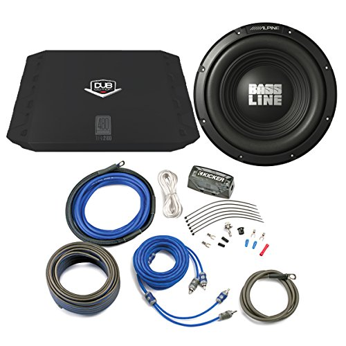 "Bass Package - Alpine Type-A 10"" Subwoofer, DUB 200 Watt RMS Amp, and Wiring Kit"