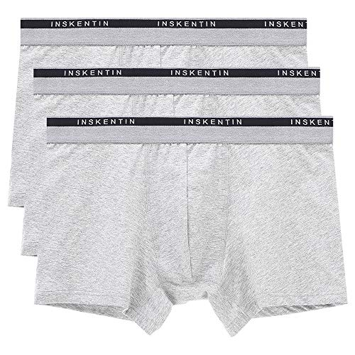 (Inskentin Men's Comfortable Cotton Stretch Trunks Tagless Ultra Soft Low Rise Underwear for Men Gray Medium 3 Pack)
