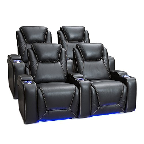Seatcraft 2212 Equinox Leather Home Theater Seating Power Recline with Adjustable Powered Headrests, Two Rows of 2, Black Review