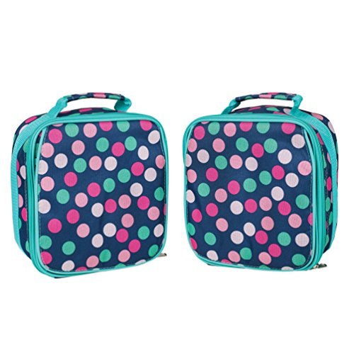 Teal Navy Party Polka Dot Water Resistant Zipper Closure Ins