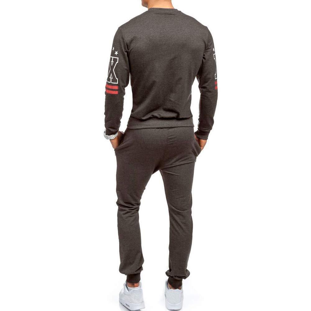 VICCKI Mens Autumn Winter Printed Sweatshirt Top Pants Sets Sports Suit Tracksuit