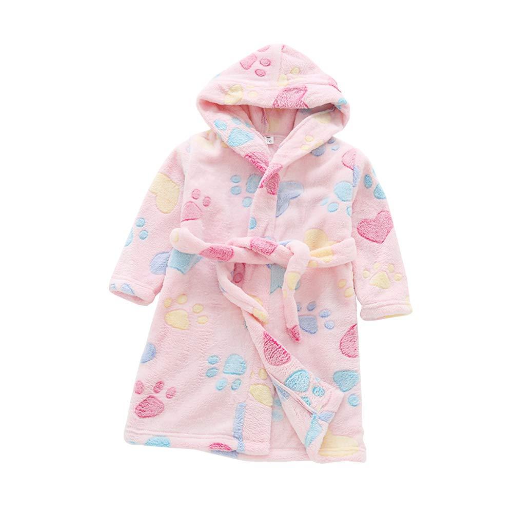 Belgius Toddlers Kids Fleece Robe Hooded Cat Paw Print Soft Plush Bathrobe