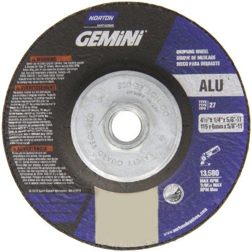 Norton Gemini Aluminium Depressed Center Abrasive Wheel, Type 27, Aluminum Oxide, 5/8