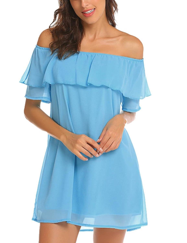 fa7174bc665e Poetsky Women\'s Off Shoulder Chiffon Ruffles Shift Loose Mini Dress ...