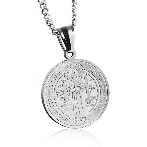 Apopo Jesus Christ ST Benedict Crucifix Cross Necklace Cross Necklace Exorcism Chain 21' Chain- silver2