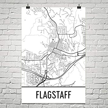 Map Of Flagstaff Arizona.Amazon Com Modern Map Art Flagstaff Az Map Flagstaff Arizona Art