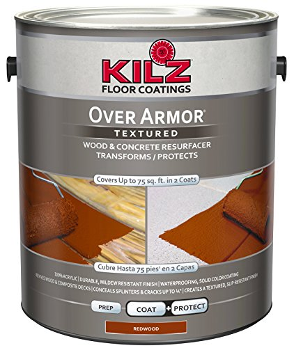 KILZ Over Armor Textured Wood/Concrete Coating, 1 gallon, Redwood