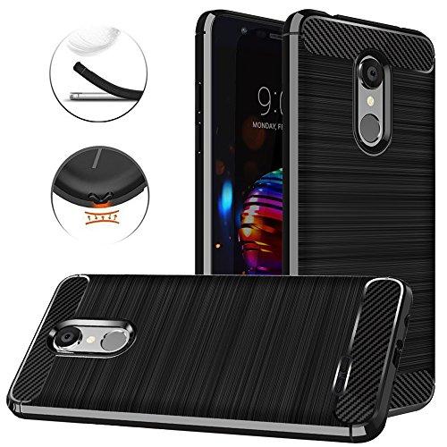 LG K30 Case, LG Phoenix Plus/LG Harmony 2/LG K10 2018/LG Premier Pro LTE/LG K10 Plus/LG K10 Alpha Case, Dretal Carbon Fiber Shock Resistant Brushed Texture Flexible TPU Protective Cover Case (Black)