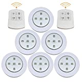 Enjoygous 6 PCS Wireless LED Puck Lights, Kitchen Under Cabinet Lighting with Remote Control, Battery Powered Dimmable Closet Lights, 4000K Natural Light, White, Warm White (6 PCS, Warm White)