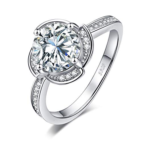 JewelryPalace Petal Flower Windmill 2.9ct Cubic Zirconia Promise Halo Engagement Ring 925 Sterling Silver size 6 ()